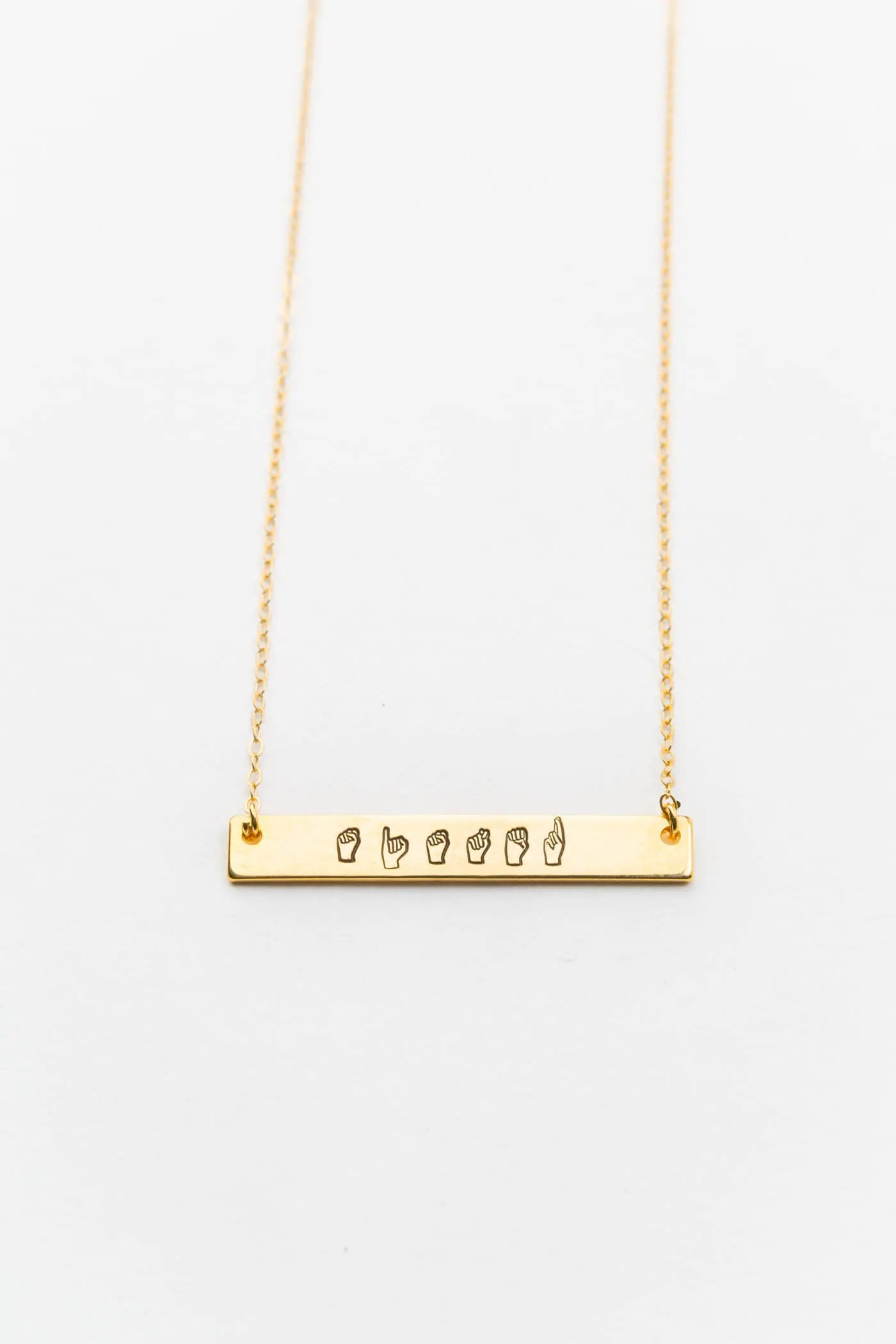 Personalized Name Necklace in Sign Language Bar Necklace // image 2