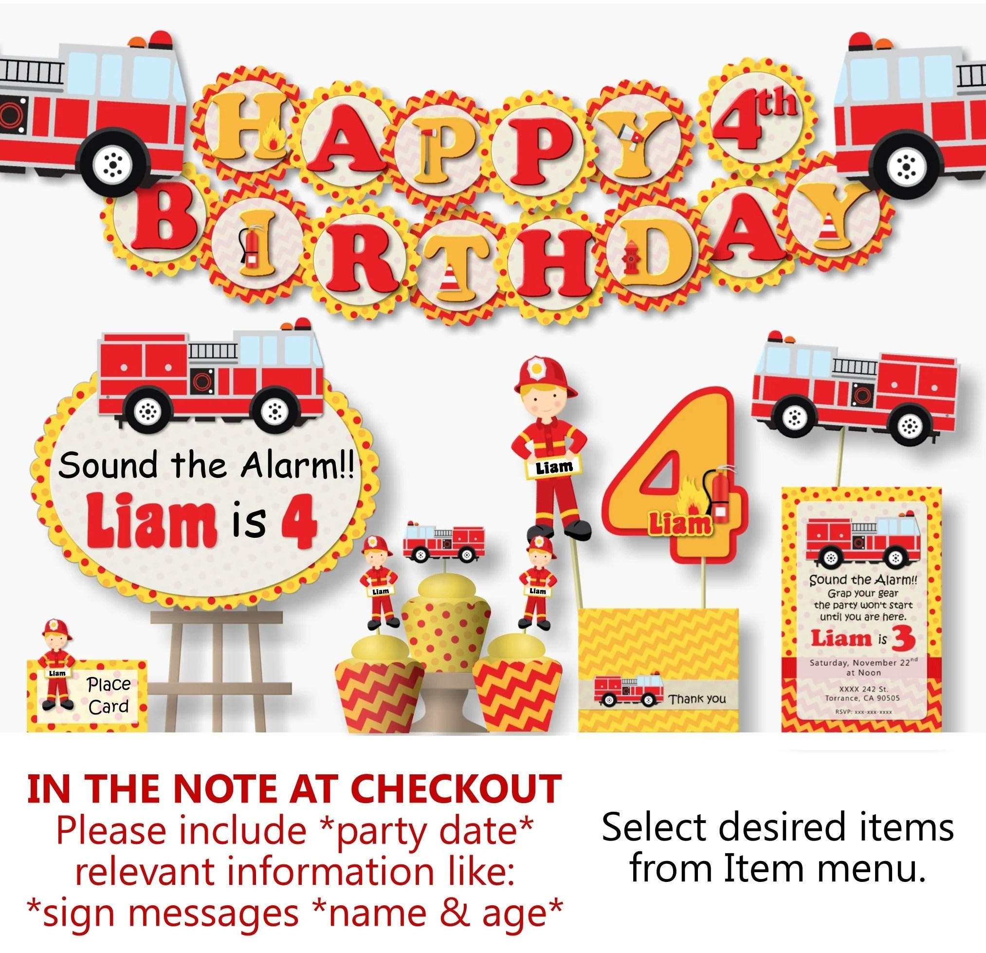 Fire Truck Birthday Party Decorations For Firefighter Or Etsy