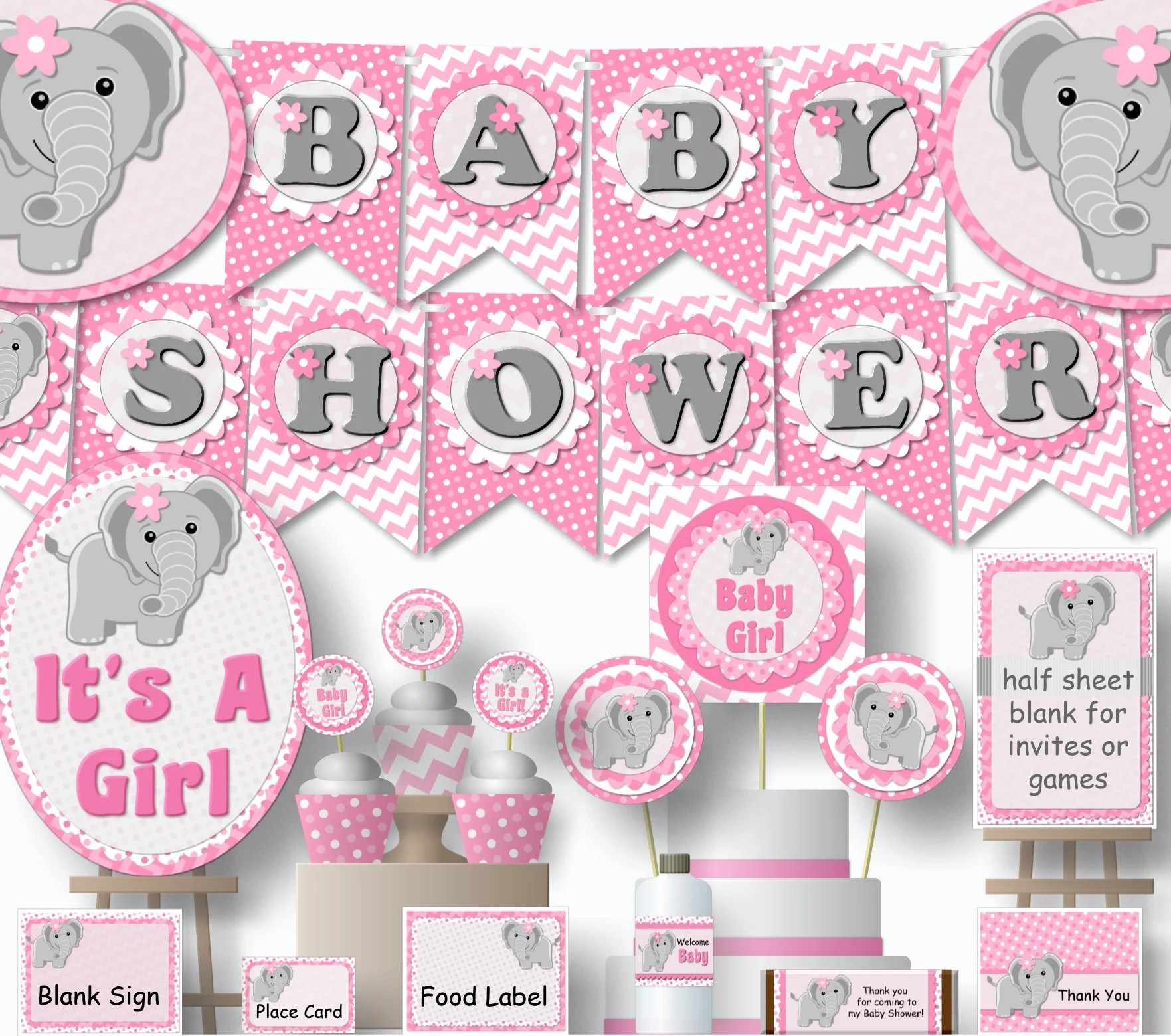 Pink Elephant Baby Shower Decorations Printable Girl