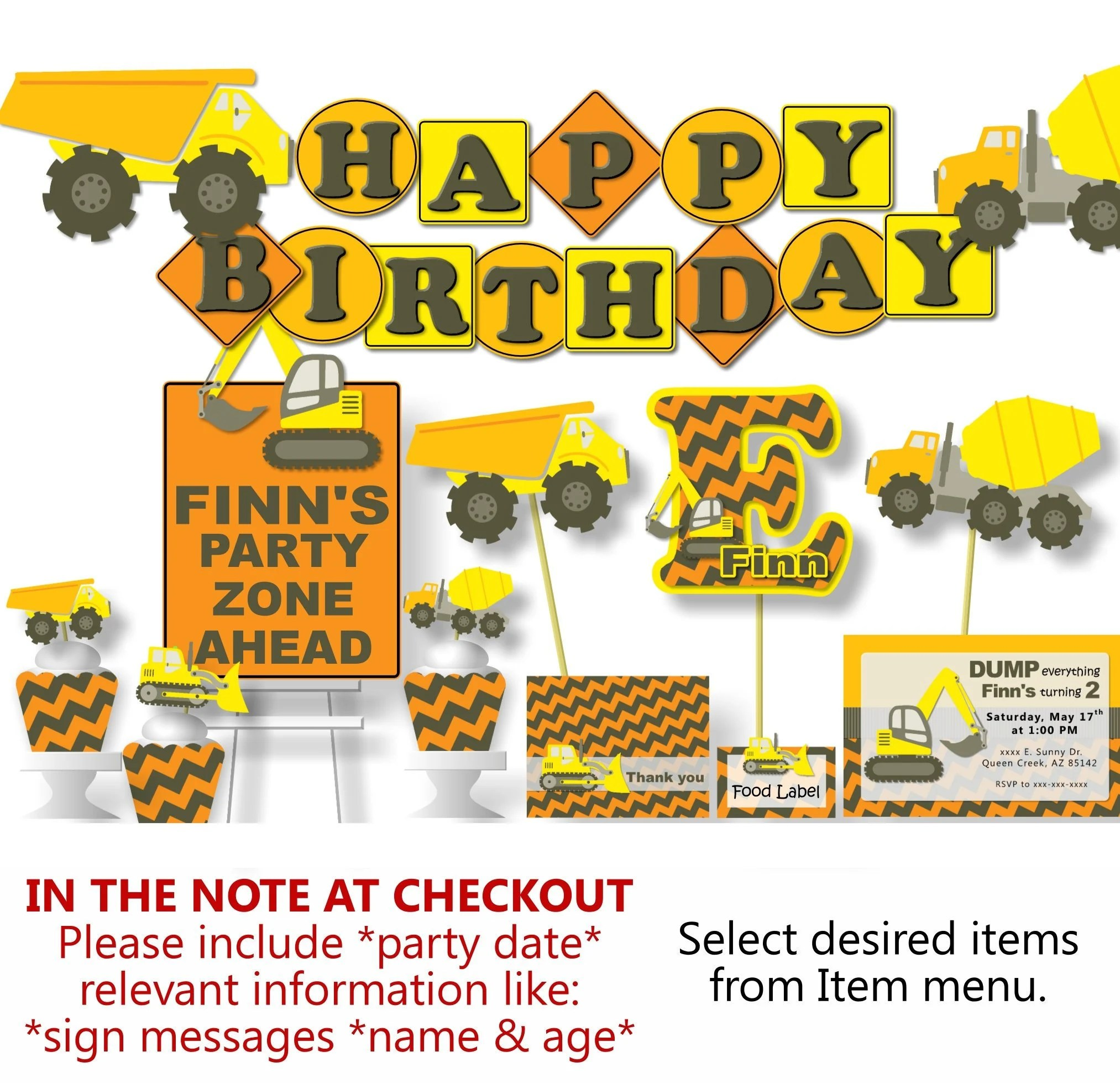 Construction Birthday Party Decorations Dump Truck Birthday Etsy