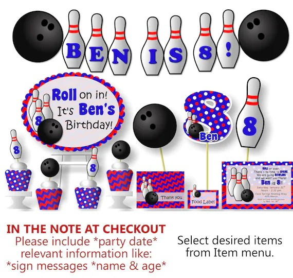 Bowling Birthday Party Decorations Bowling Theme Party Etsy