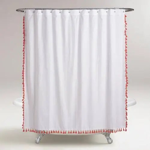 extra long tassel shower curtain color options