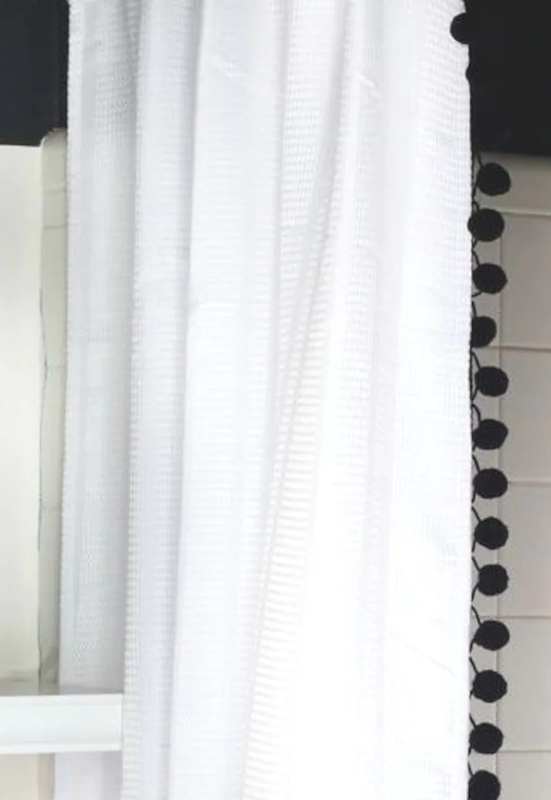 Extra Long White Cotton Waffle Weave Shower Curtain With Pom Poms