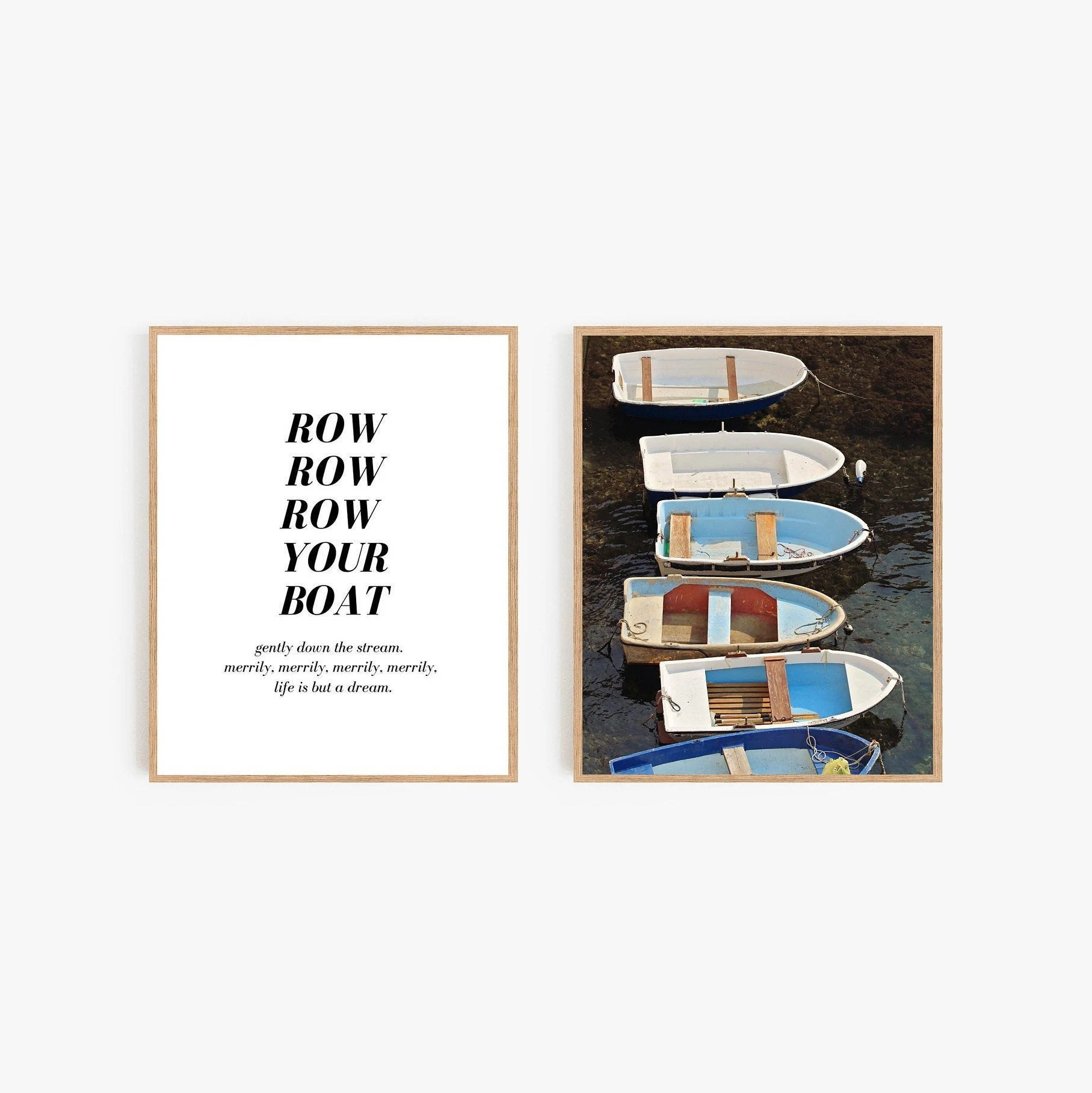 Row Boat Photography Print Set Boys Room Nautical Wall Art