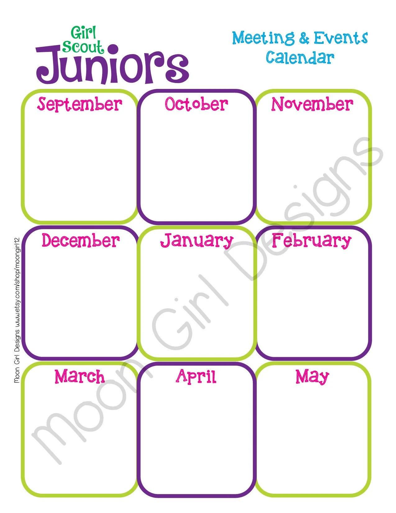 Junior Yearly Calendar Girl Scouts Editable Printable