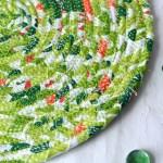Spring Green Trivet 10 Potholder Mat Homemade Quilted Trivet Handmade Table Topper Artisan Mug Rug 10 Coiled Rope Hot Pad