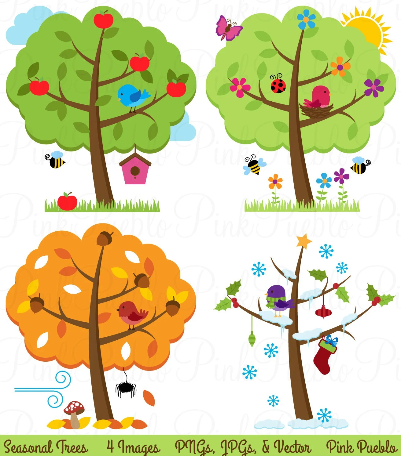 Four Seasons Trees Clipart Clip Art Seasonal Trees And