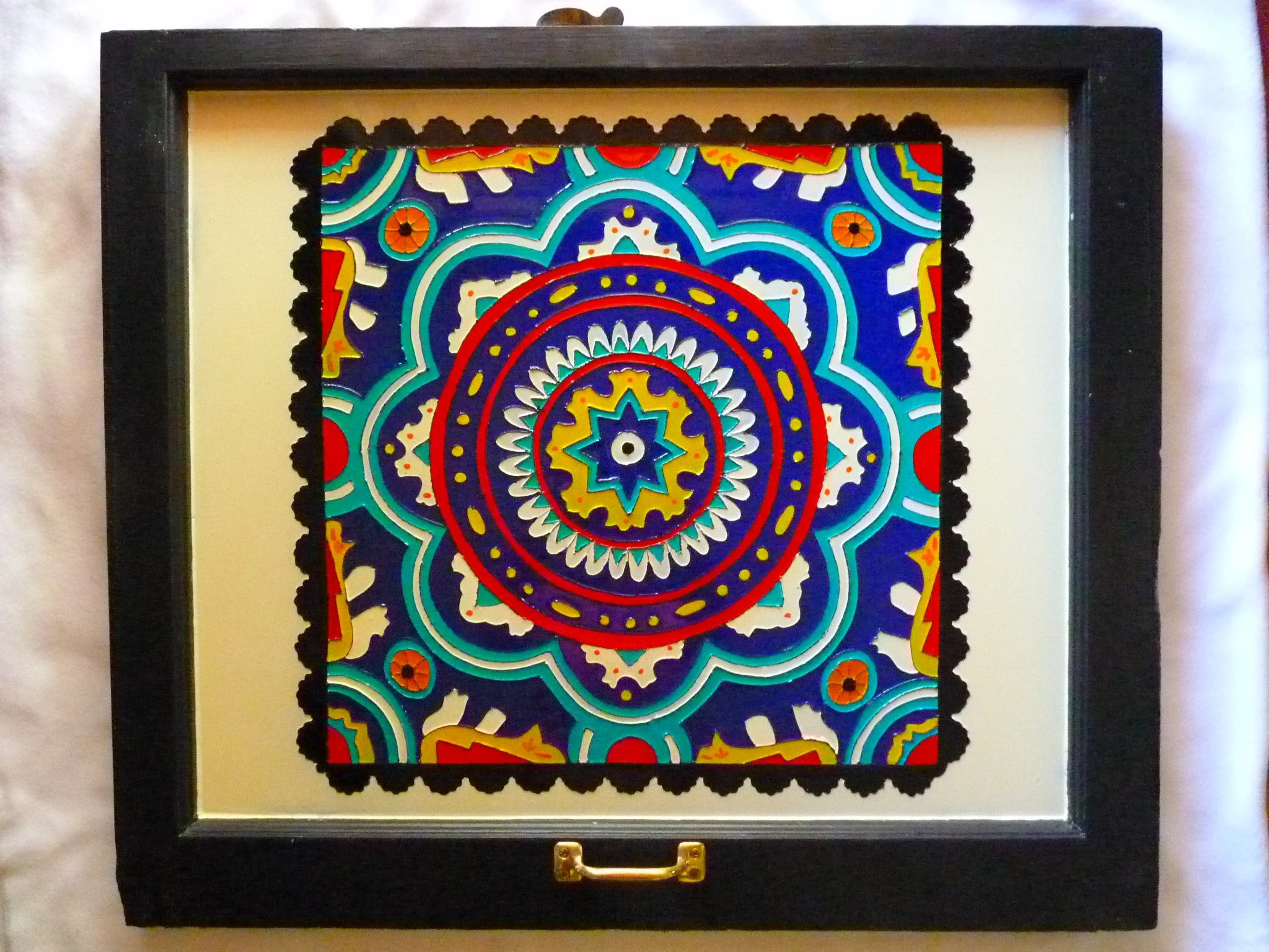 mexican tile painting painting on glass bright color scheme tile look mexican tile art glass paint on window wood window art vintage