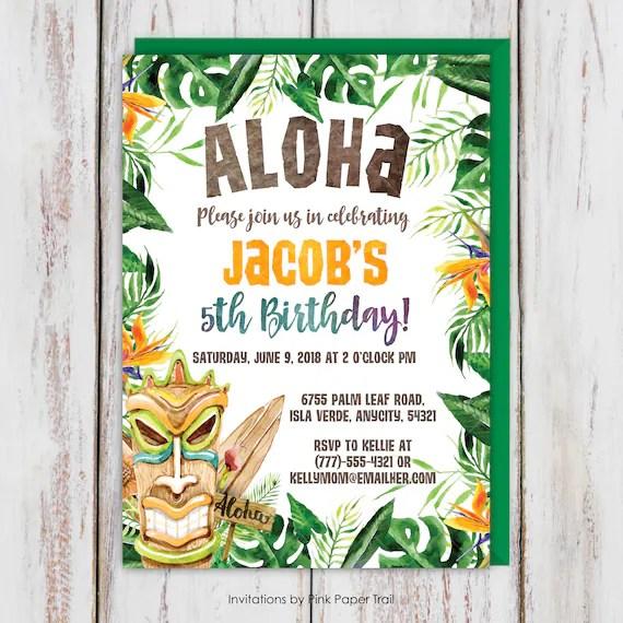 Tiki Aloha Tropical Birthday Party Invitation Hawaiian Boy Birthday Invitation Luau Beach Party Digital Printable Invite