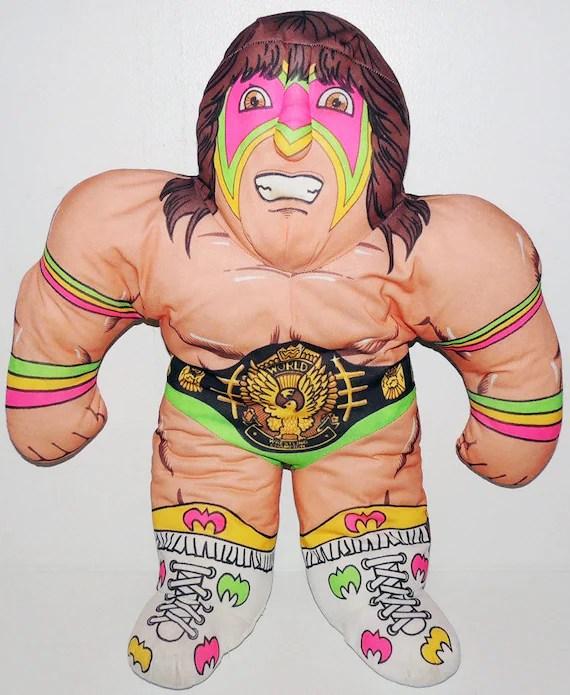 vintage wrestling buddy wwf ultimate warrior stuffed pillow doll wcw toy tonka