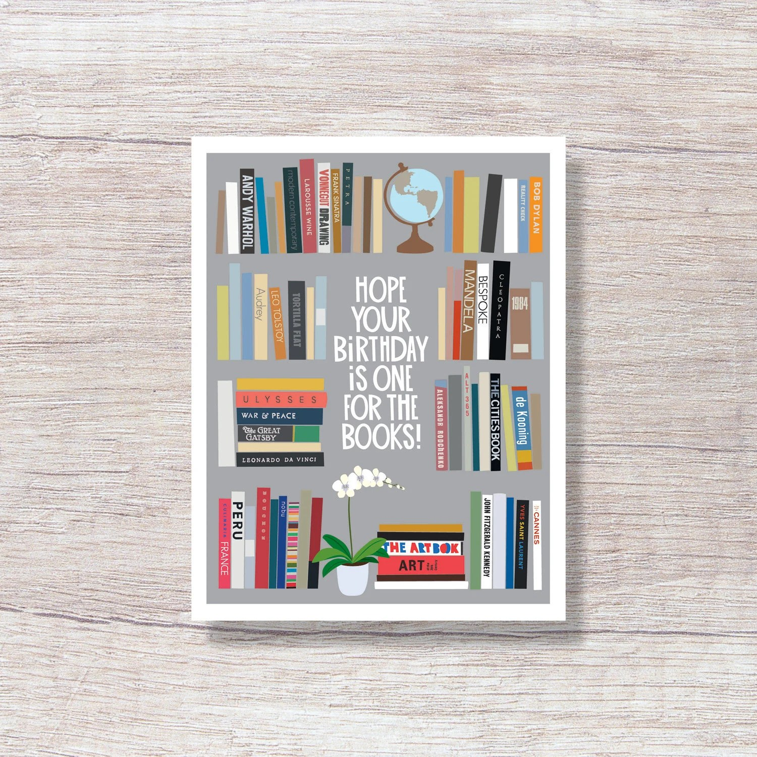 Birthday Card For Book Lover Reader Library Bookcase D281 Etsy