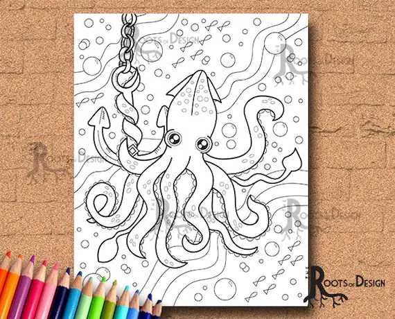 squid coloring page preschool # 53