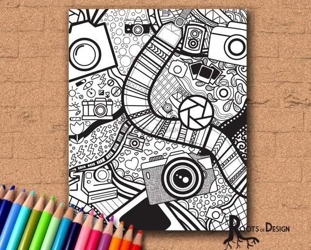 INSTANT DOWNLOAD Coloring Page - Camera Art Print zentangle inspired,  doodle art, printable