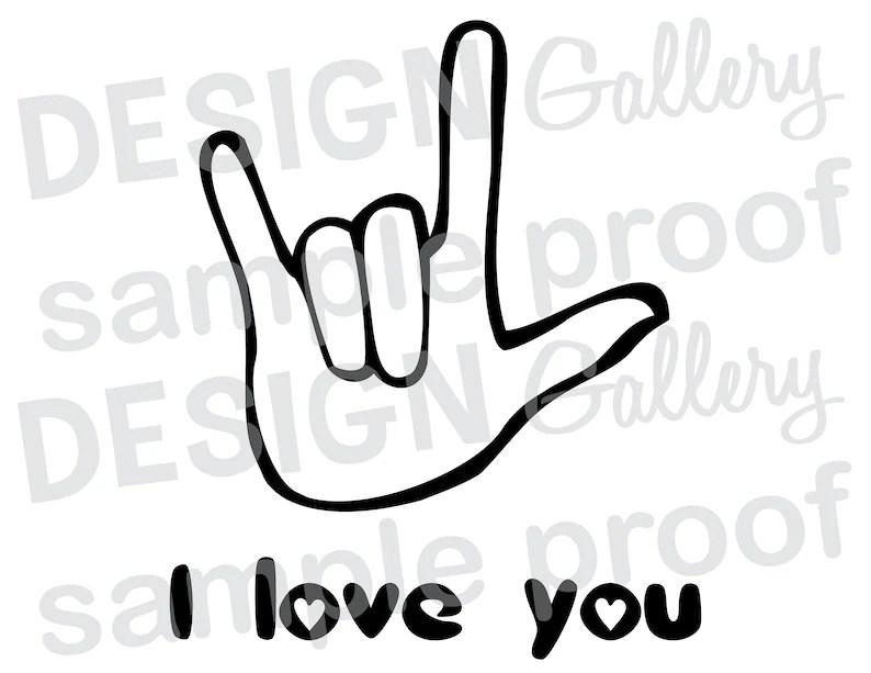 Download ASL I love you hand sign language jpg png & svg dxf cut | Etsy
