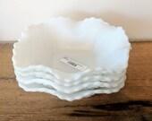 Diamond milk glass bowl s...