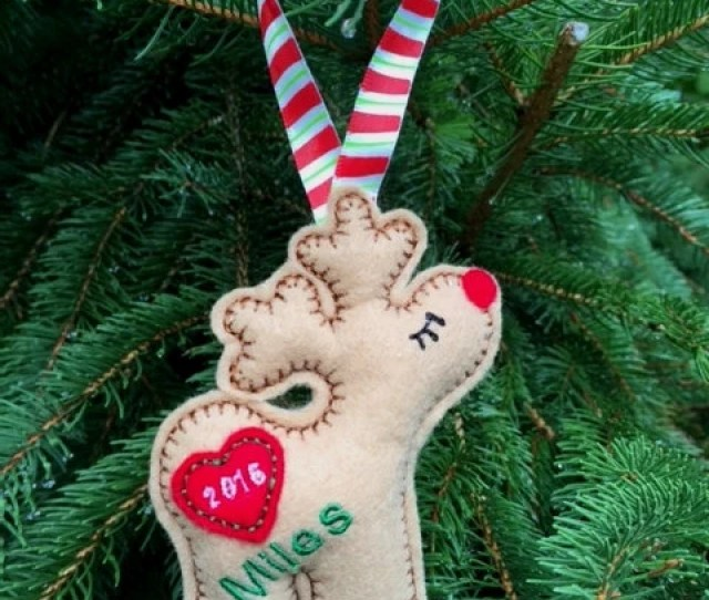 Personalized Felt Christmas Ornament Babys First Christmas Felt Reindeer Ornament Rustic Christmas Stocking Stuffer