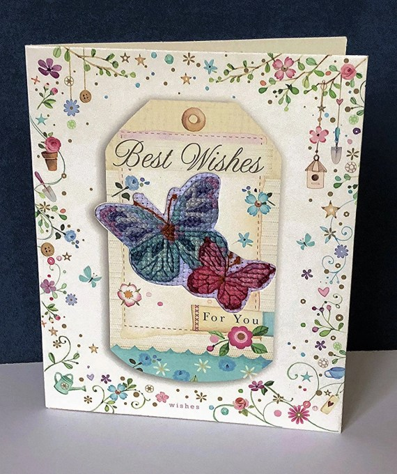 Butterfly Card 'two butterflies' in Cross Stitch