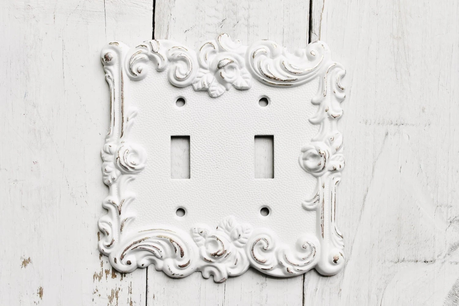 Distressed Metal Wall Decor Double Light Switch Cover