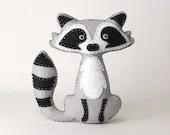 Raccoon Stuffed Animal Sewing Pattern, Felt Hand Sewing Raccoon Plushie Pattern, Raccoon Softie Pattern, Instant Download PDF, Sew a Raccoon