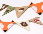 Woodland Nursery Bunting Banner Decor Sewing Pattern, DIY Woodland Decoration, Felt Forest Animal Flags, Hand Sewing Embroidery