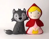 Little Red Riding Hood and the Big Bad Wolf Sewing Patterns, Stuffed Animals, Felt Animals, Hand Sewing Patterns, Easy Instant Download PDF