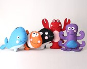 Ocean Stuffed Animals Sewing Patterns, Hand Sewing Patterns for Whale, Lobster, Orca, Clown Fish, and Octopus, How to Sew Sea Creatures, PDF