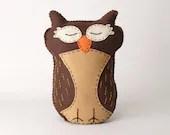 Sleeping Owl Sewing Pattern, Felt Stuffed Animal, Hand Sewing Owl Plushie Pattern, Owl Softie Pattern, Instant Download PDF, Embroidery Owl