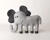 Elephant Sewing Pattern, Sew a Felt Elephant by Hand, DIY Stuffed Elephant Pattern, Elephant Sewing Tutorial, Instant Download PDF, Soft Toy