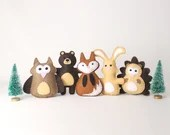 Woodland Forest Animal Sewing Patterns, Small Woodland Felties, Felt Hedgehog, Owl, Fox, Rabbit & Bear Stuffies, Forest Nursery Decor