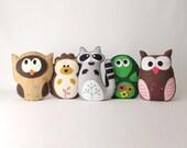 Woodland Stuffed Animal Sewing Patterns, Felt Owl, Plush Raccoon, Hedgehog Softie, Turtle Stuffie, Easy Hand Sewing for Felt Woodland Forest