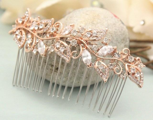 boho wedding hair comb rose gold hair comb wedding