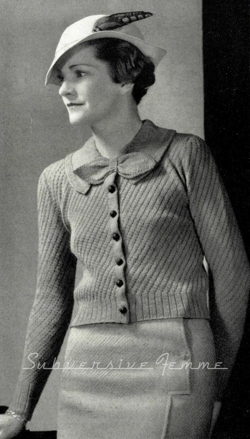 1930s Diagonal Stitched Cardigan with Bow Vintage Knitting image 0