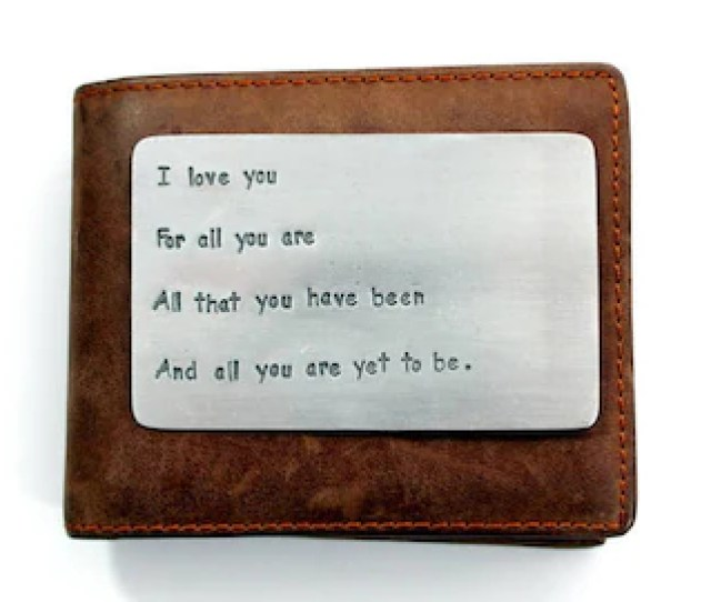 Mens Aluminum Wallet Insert Card Personalized Hand Stamped Metal Gift Husband Boyfriend  Ten Year Anniversary Boyfriend Gift