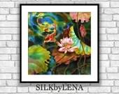 GICLEE Art Print  lotus flower koi fish painting art wall art print silk painting fine art print modern fine art