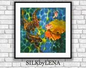 Fine Art Print Giclee art ptint  lotus flower art koi fish painting art wall art print silk painting fine art print modern fine art koi art