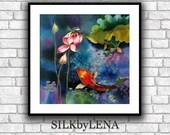 GICLEE Print  SILK Painting Fine Art Print Koi Fish Painting