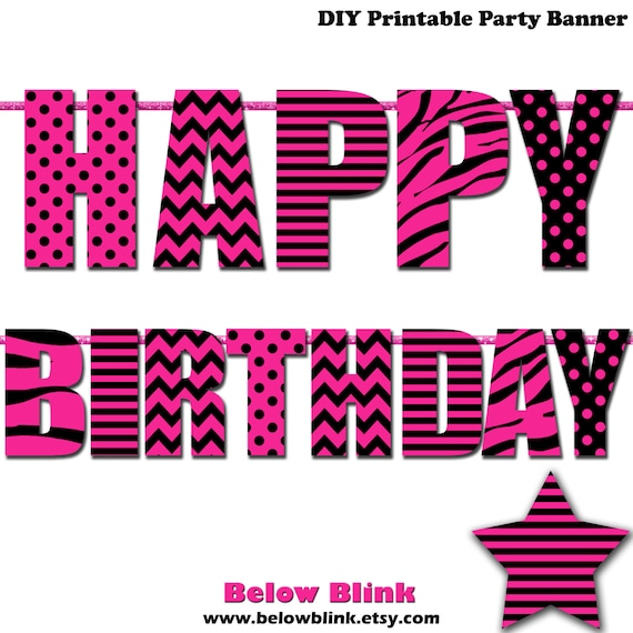 Sweet 16 Happy Birthday Banner Printable Banner Pink And Etsy
