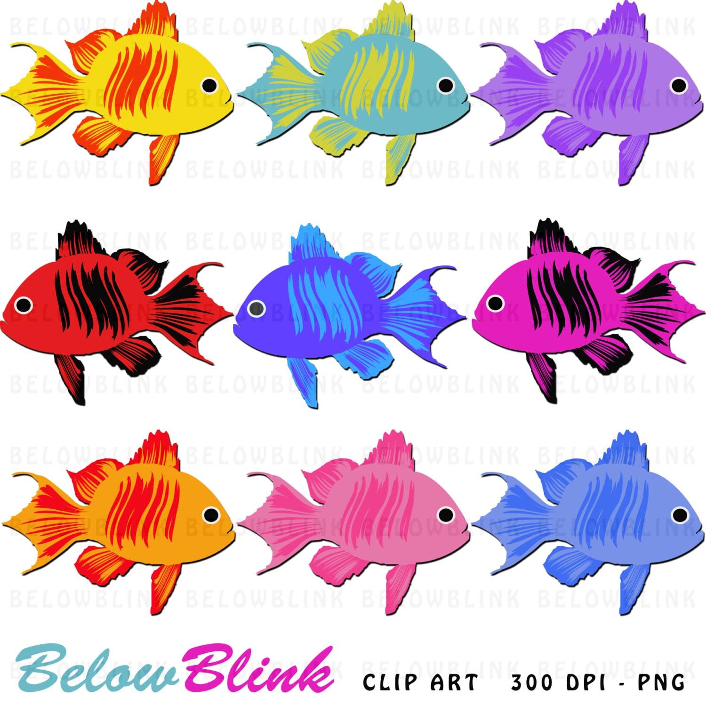 Cute Colorful Fish Clipart Clip Art Digital Scrapbooking