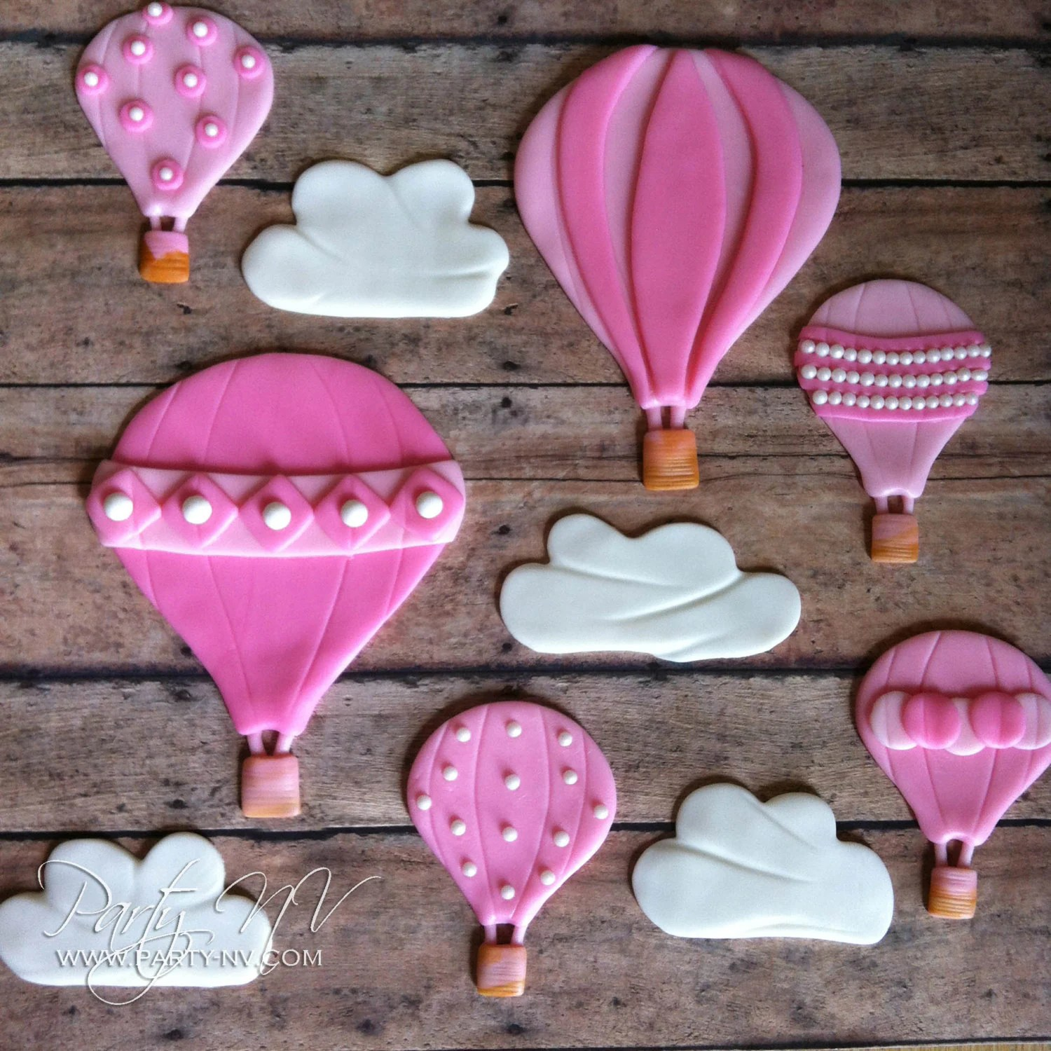 Edible Fondant Toppers Hot Air Balloons