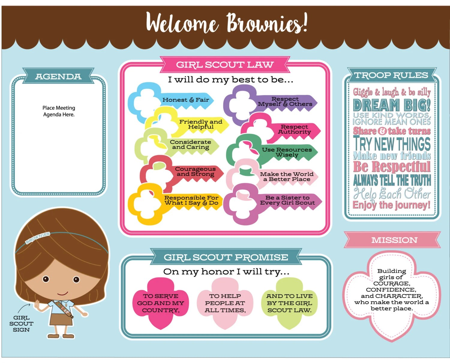 Brownie Girl Scout Promise Amp Law Meeting Board Printable