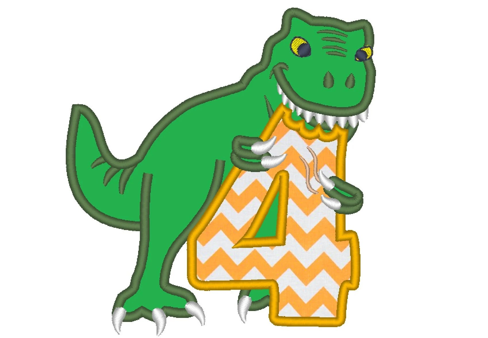 T Rex Dinosaur Birthday Number Four 4 Machine Embroidery