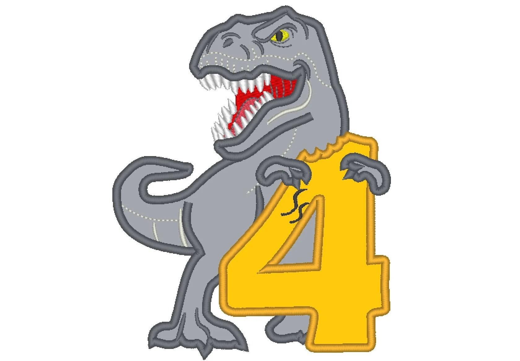 T Rex Dinosaur Indominus Eating Birthday Number Four 4