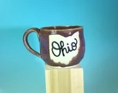 "Ohio Mug in Lavender // Small Handmade Ceramic Mug with ""Ohio"" // Gifts  for Ohioans, Travelers or College Students - READY TO SHIP"