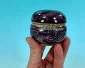 Small Eggplant Purple Jewelry Box, Carved // Wheel-Thrown Ceramic Box, Jewelry or Ring Box // Engagement or Wedding Gift - READY TO SHIP