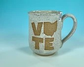 Vote Ohio Mug in White // Handmade Ceramic Mug // Gifts  for Ohioans, Travelers or College Students - READY TO SHIP