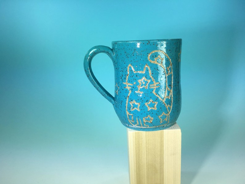 Cat Doodle Mug // Handmade Ceramic Mug with Carved Kitties in Bright Colors // Gifts for Cat Lovers - READY TO SHIP