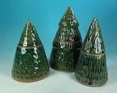 Ceramic Christmas Tree Jars // Handmade Stoneware Christmas Tree Jars // wheel-thrown winter tree // winter Christmas - READY TO SHIP