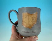 Columbus, Ohio Skyline Mug in Gray // Handmade ceramic mug // Gifts  for Ohioans, Travelers, College Students - READY TO SHIP