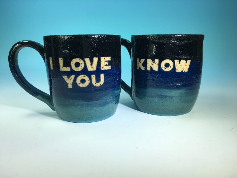 """Star Wars """"I love you,"""" """"I know"""" Mug Pair // Blue Ombre Handmade Mugs // Gifts Weddings, Valentines Day and Star Wars Lovers - MADE TO ORDER"""