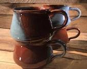 Blue Brown Ceramic Mugs /...
